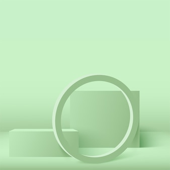 Abstract background with green geometric  podiums.