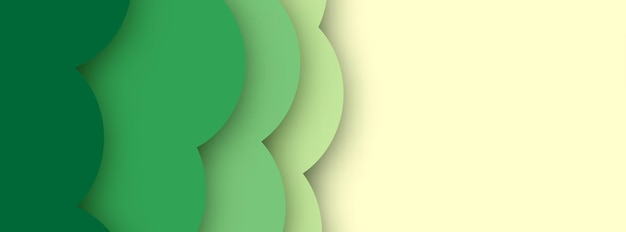 Abstract  background with green paper cut shapes banner design. vector illustration