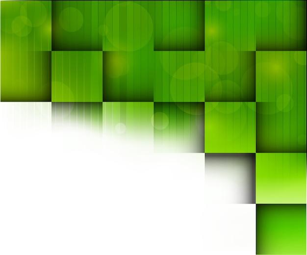 녹색 사각형, 선 및 빈 공간으로 추상적 인 배경