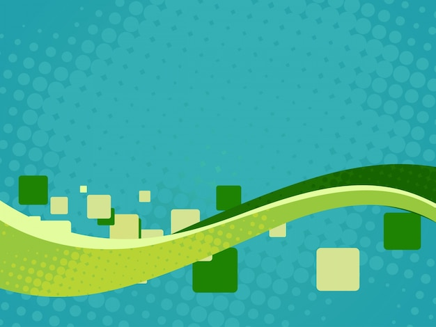 Abstract background with green wave and rectangles