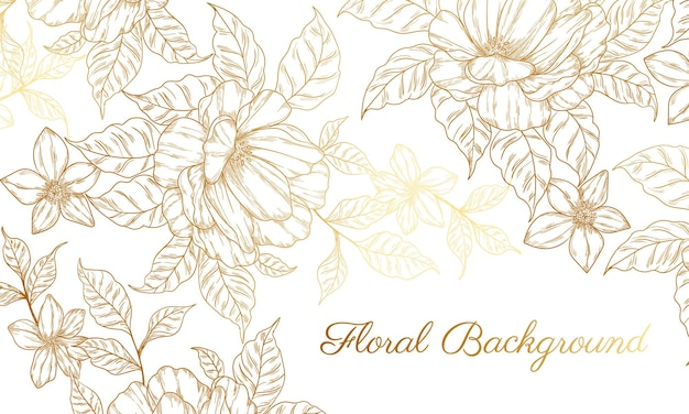Abstract background with hand drawn golden flower