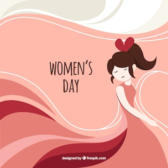 Abstract background with happy girl for women's day