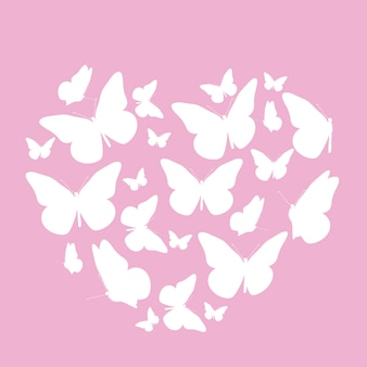 Abstract background with heart symbol made from butterfly.