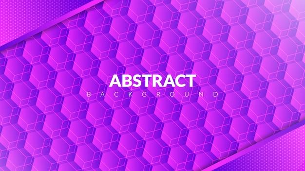 Абстрактный фон с концепцией шестиугольника в фиолетовый градиент