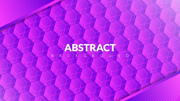 Abstract background with hexagon concept in purple gradient