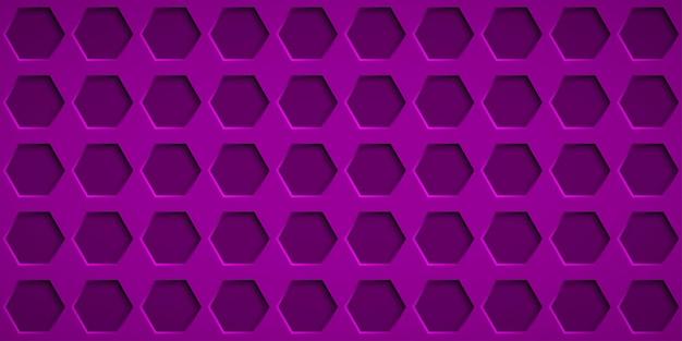 보라색 색상의 육각형 구멍이 있는 추상적인 배경