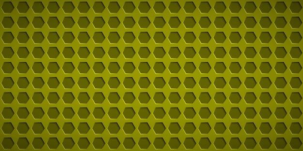 노란색 색상의 육각 구멍이 있는 추상적인 배경