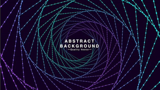 Abstract background with hexagon line spiral in cyan and purple colors