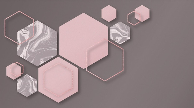 Abstract background with hexagonal shapes and marble texture in 3d effect