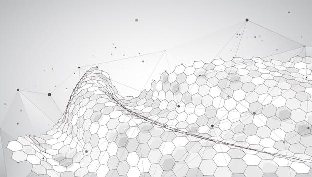 Абстрактный фон с шестиугольниками. виртуальный мир 3d-дизайна.