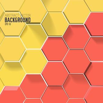 赤と黄色の色の六角形と抽象的な背景