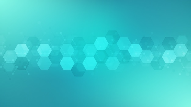 육각형 모양, 과학, 의료 및 기술 개념으로 추상적 인 배경