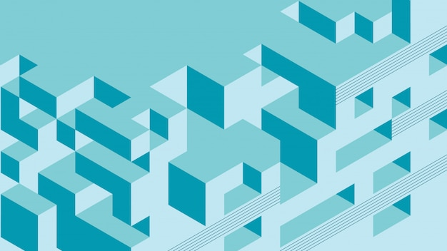 Abstract background with isometric elements of a cube box. with retro or vintage colors.