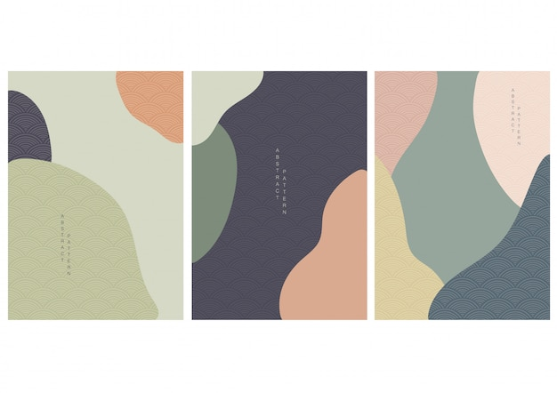 Abstract background with japanese style wave vector. curve design