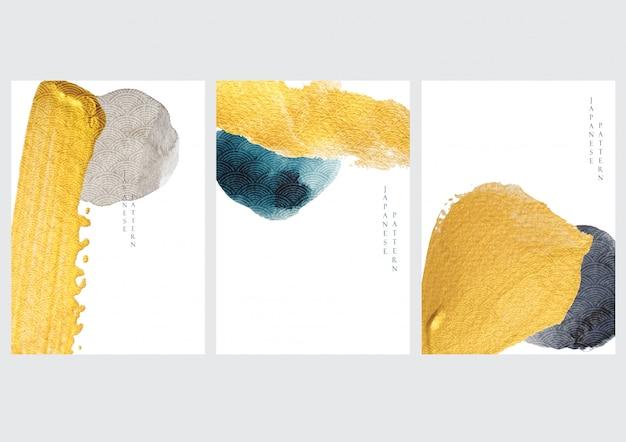 日本の波パターンとアイコンの抽象的な背景。アジアンスタイルの水彩テクスチャテンプレートを持つ金の要素。