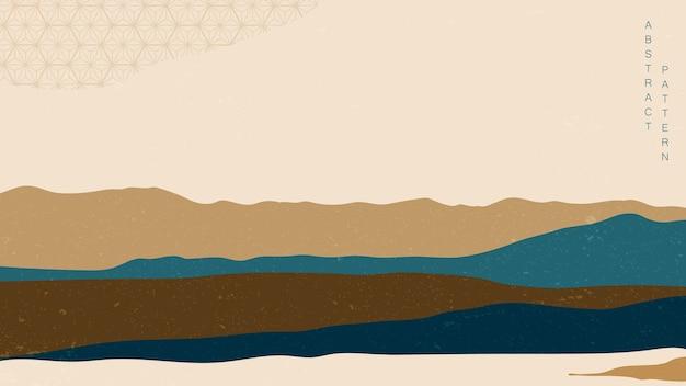 일본 웨이브 패턴으로 추상적 인 배경입니다. 풍경 템플릿. 빈티지 컨셉의 아시아 그래픽.