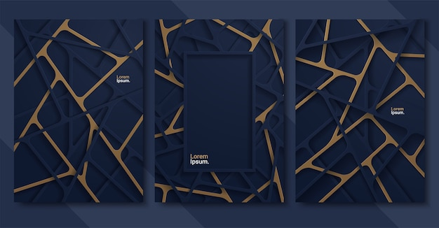Abstract background with linear deep blue paper shapes