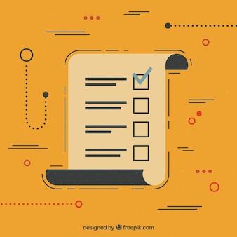 フラットデザインの要素のリストを含む抽象的な背景