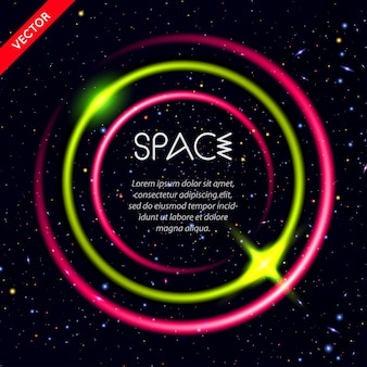 Abstract background with luminous circles in space