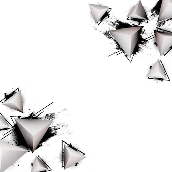 Abstract background with modern 3d triangles and ink splash