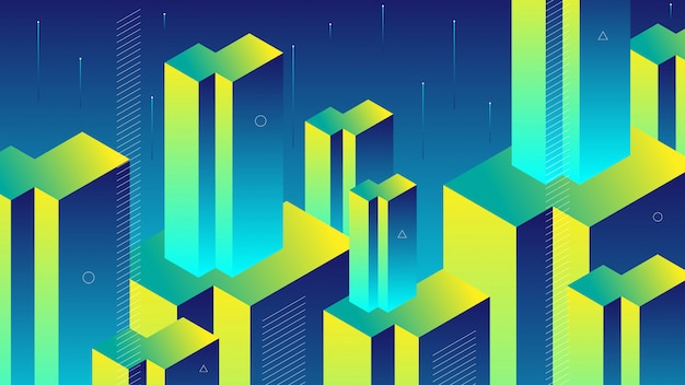 Abstract background with modern isometric block or beam and memphis element.
