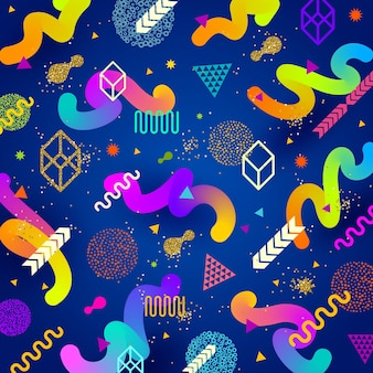 Abstract background with multicolored geometric shapes.