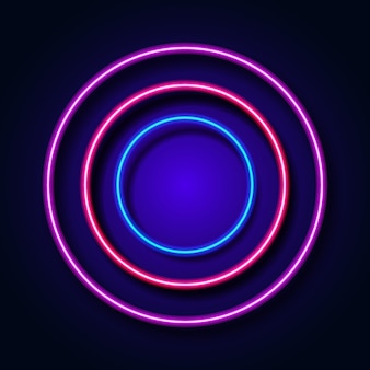 Abstract background with neon light circle frame on background. vector illustration