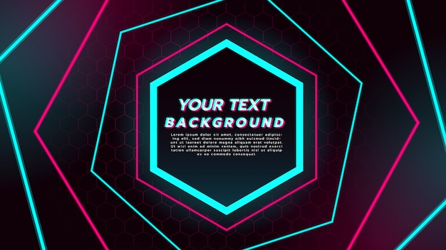Abstract background with neon light in hexagon lines.