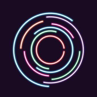 Abstract background with a neon style circle design