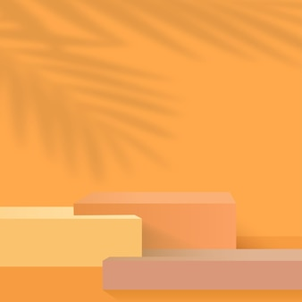 Abstract background with orange color geometric 3d podiums. vector illustration.