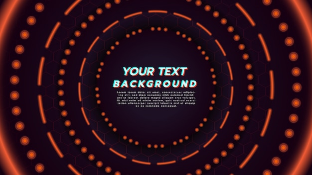 Abstract background with orange neon light in circle layout. illustration about technology concept and modern music background.