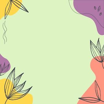 Абстрактный фон с органическими всплесками пастели и листьев