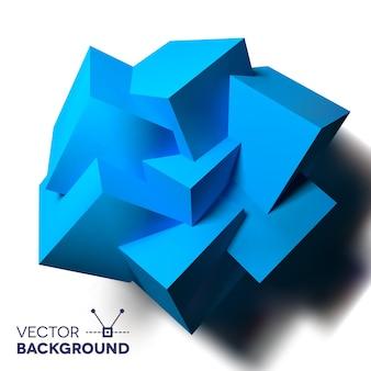 겹치는 파란색 큐브와 추상적인 배경