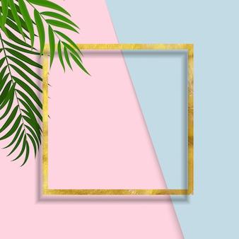 ヤシの葉とフレームと抽象的な背景。ベクトルイラスト