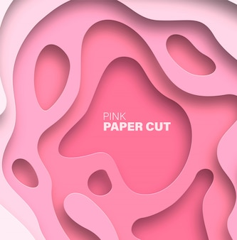 Abstract background with paper cut shapes. pink trend color