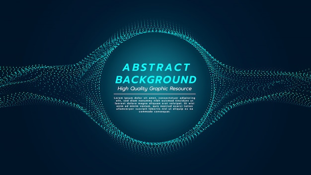 Abstract background with particles flow and circle in center.