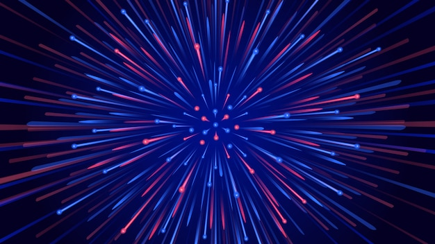 高速で広がる2トーンの粒子と抽象的な背景。技術とサイバーの概念についての図。