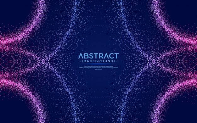 Abstract background with particles liquid dynamic flow.