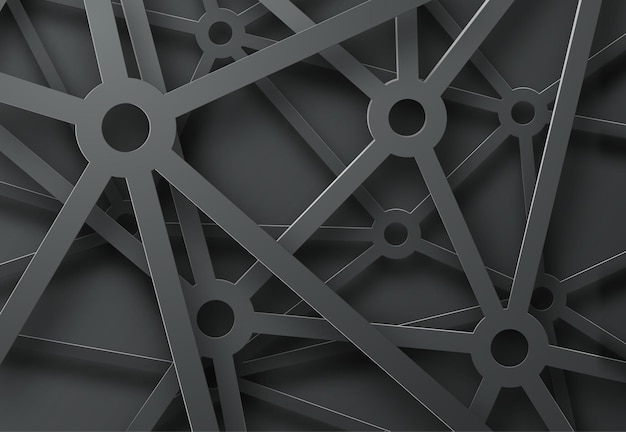 Abstract background with a pattern of cobwebs from mechanisms on black.