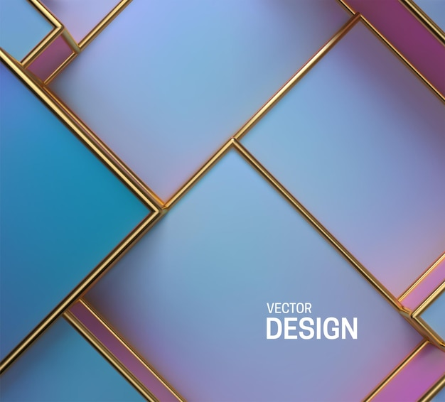 Abstract background with pearlescent boxes and golden frames