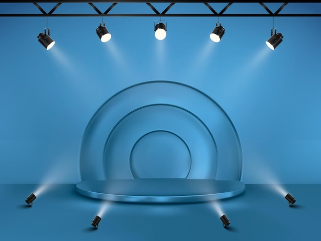 Abstract background with a pedestal. 3d vector stage with spotlights. podium for show.