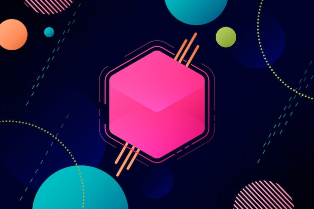 Abstract background with pink 3d cube
