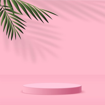 Abstract background with pink color, geometric 3d podium and palm tree