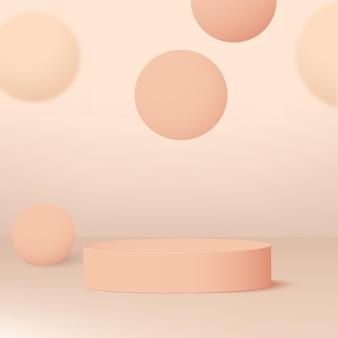 ピンク色の幾何学的な3d表彰台と抽象的な背景。ベクトルイラスト。