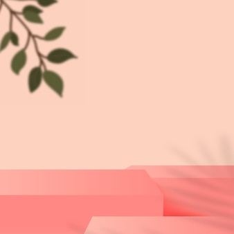 Abstract background with pink color geometric 3d podiums. vector illustration.