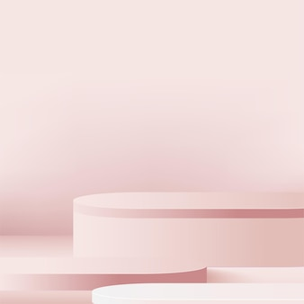 Abstract background with pink color geometric 3d podiums.