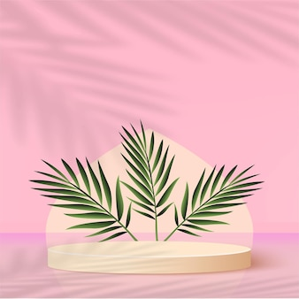 Abstract background with pink color geometric 3d podiums