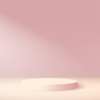 Abstract background with pink color geometric podium