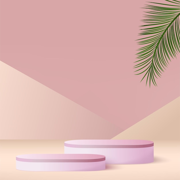 Abstract background with pink color geometric  podiums.