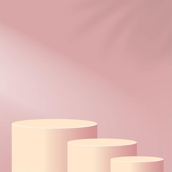 Abstract background with pink color geometric  podiums. Premium Vector